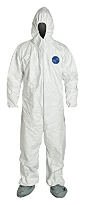 DuPont Tyvek Chemical-Resistant Coverall, Elastic Cuff, Elastic Ankle, Attached Hood, Attached Boots