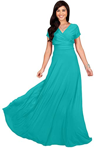 KOH KOH Plus Size Womens Long Cap Short Sleeve V-Neck Flowy Cocktail Slimming Summer Sexy Casual Formal Sun Sundress Work Cute Gown Gowns Maxi Dress Dresses, Turquoise 2XL 18-20]()
