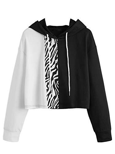 SweatyRocks Women's Drawstring Hem Long Sleeve Crop Top Sweatshirt Hoodies