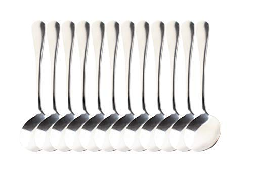 YETHAN Stainless Steel Soup Spoons 12 Pcs, Round Soup Spoons, Bouillion Spoons