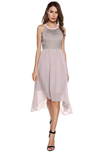 ACEVOG Women's Halter Sleeveless A-Line Embroidered Asymmetrical Chiffon Midi Dress(Moon Grey,S)