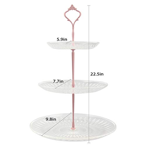 Lucky Will 3 Tier Acrylic Cupcake Display Stand Cake Stand Dessert Stand Cupcake Holder Home Holiday Valentine\'s Day, Cupcake Stand for 12 Cupcakes(Pink New Crown)