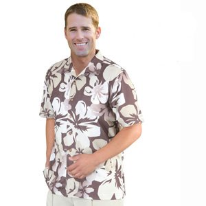Monterey Club Men's Dry Swing Mini Matrix Textured Giant Hawaiian Print Camp Shirt #1517 (Cognac/Khaki, (Dry Cognac)