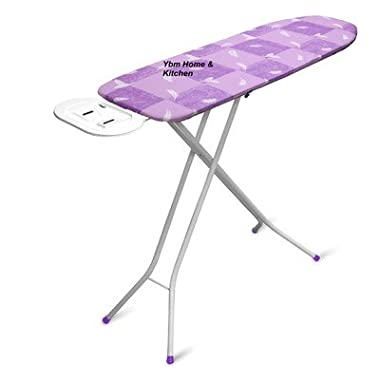 Ybm Home & Kitchen Adjustable Height Deluxe Rectangle 4-leg Foldable Heavy Duty Ironing Board with Cotton Purple Print Cover Steel Mesh Top 1548-14 2316(purple)