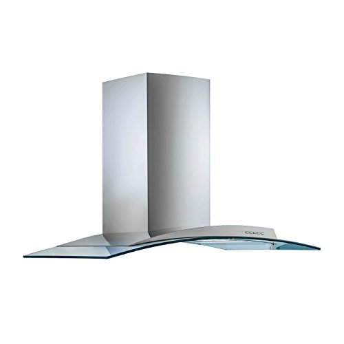 Futuro Futuro Acqualina Glass 42 Inch Island-mount Range Hood, Contemporary Curved Steel & Glass, LED, Ultra-Quiet, w/Blower