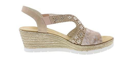 Verano 31 Sandalias Mujer cómodo 61916 Del zapatos De Rosa altrosa plana Cuña Rieker np47x7