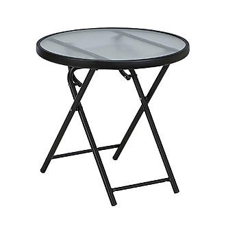 Essential Garden Round folding table - Matte black finish