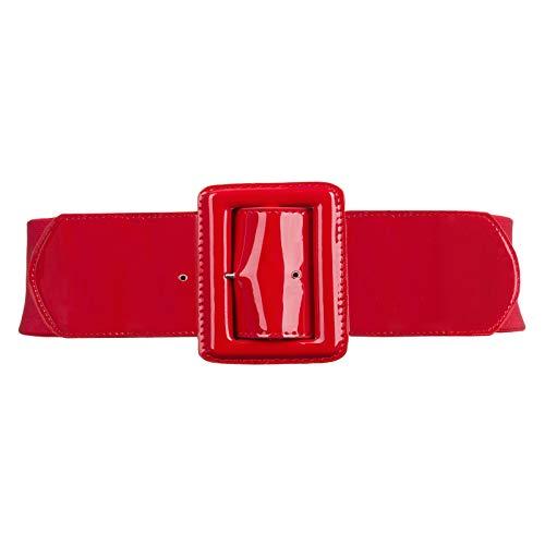 - GRACE KARIN Women Elastic Stretchy Metal Buckle Cinch Belt for Dress 2XL 843-Red