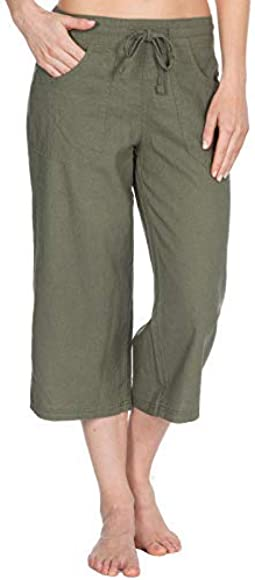 INSIGNIA Ladies Womens Casual Linen Trousers Cool Elastic Back Bottoms with Pockets