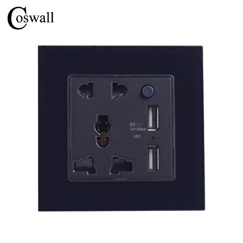 (SOMITI | Electrical Sockets | Coswall Crystal Glass Panel 5 Hole Universal Socket Switched with LED Indicator + Dual USB Charge Port for Mobile Output 5V 2.1A)