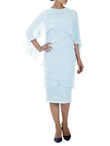 Gown Chiffon Dressyu Mother Light Evening Church Formal Blue of Women's Bride Beaded The v4xqH4T5Uw