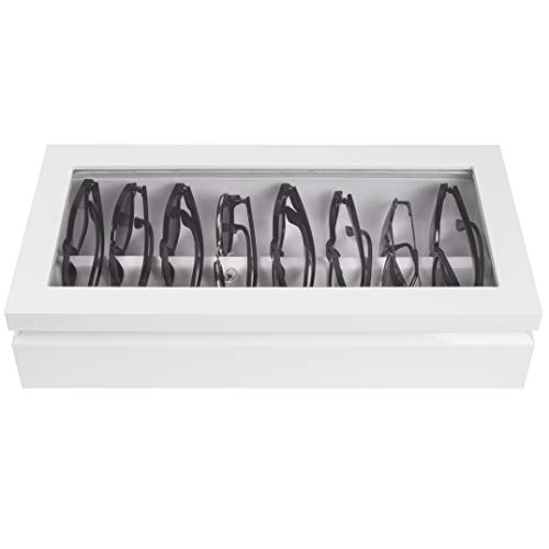 OYOBox Maxi Luxury Eyewear Organizer, Lacquered Wood Box for Glasses + Sunglasses, Pure White