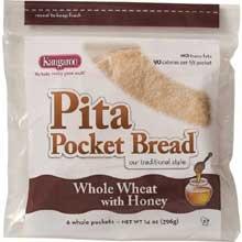 Kangaroo Whole Wheat Honey Pita Pocket Bread, 10 Ounce - 12 per case. by Kangaroo