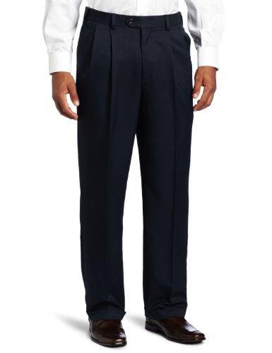 Geoffrey Beene Men's Sorbtek Performance Dress/Golf Pleated Extender Pant, Navy, 32x30