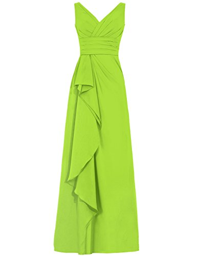 Long Bridesmaid V Prom Green Lime Dresses Womens Dress Neck Chiffon Cdress Ruffles Party YqwHtxI