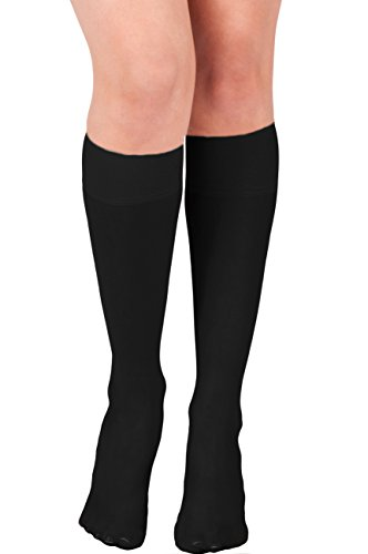 KMystic Womens Trouser Socks Knee High (Black) (High Knee Socks Silver)