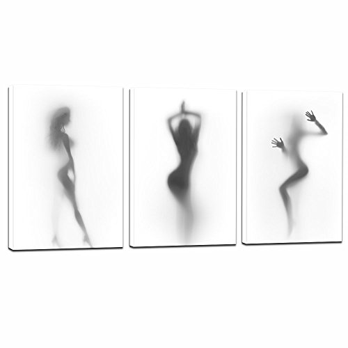 Picture Sexy (Sea Charm - Sexy Nude Woman Photos Bedroom Decoration Print on Canvas,Naked Girl in the Shower Hazy Shadow Wall Art,Modern 3 Pieces Canvas Art Ready to Hang,Each Piece 16