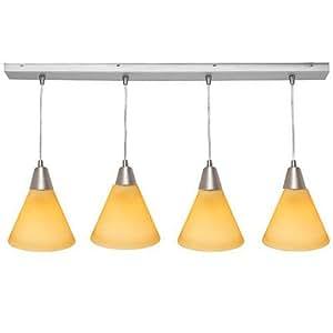 Access Lighting 52404-Access Lighting 52404-BS/AMB 4 Light Inari Silk Bar Island Light Brushed Steel and Amber Glass finish