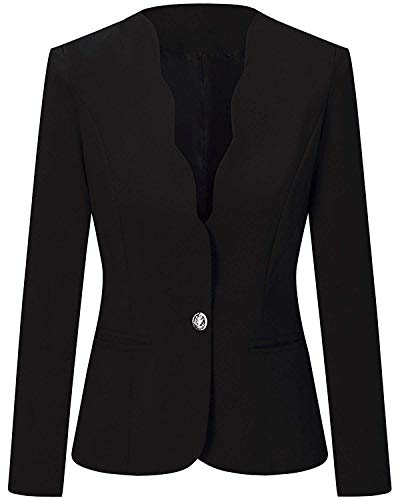Women's One Button Slim Fit Casual Office Work Blazer Suit Jacket Black, Medium