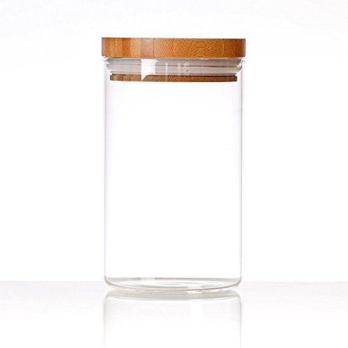 Cozy Homy Clear Glass Snack Sugar Tea Storage Jar Bottle Round Shape Glass Food Storage Jar Set Kitchen Canister with Airtight Bamboo Lid Seal (M) by Cozy Homy