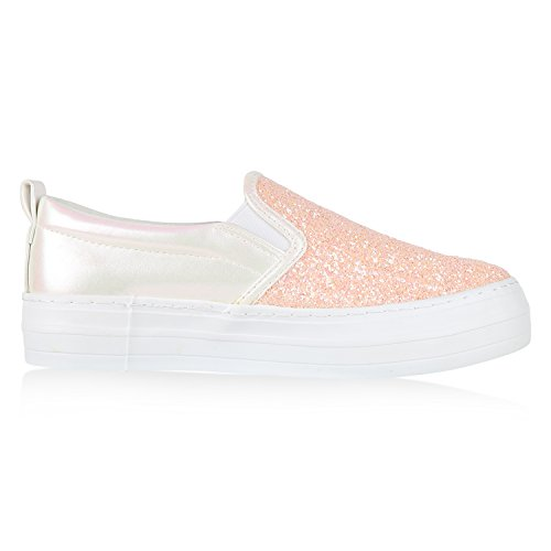 Japado Komfortable Damen Sneakers Bequeme Slipper Funkelnde Glitzerapplikationen Modische Plateausohle Gr. 36-41 Rosa Weiss