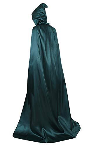 frawirshau Unisex Hooded Cloak Cape Full Length Halloween Cosplay Costumes Masquerade Cloak Green Satin -