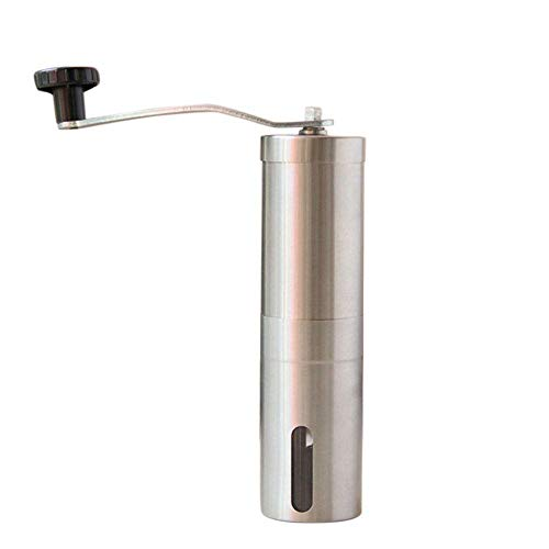 Whreaomoz Manual Coffee Grinder, Portable Hand Crank Coffee Grinder For Travel, Brushed Stainless Steel, Conical Burr Mill With Adjustable Setting Best For Espresso, French Press, Cold & Turkish Brew ()