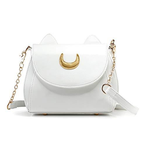 Oct17 Moon Luna Design Purse Kitty Cat satchel shoulder bag Designer Women Handbag Tote PU Leather Girls Teens School Sailer Style (White)