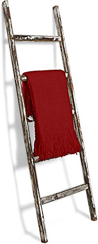 Sunsnap Wooden Antique Farmhouse Blanket Ladder   5ft White Rustic Decorative Wall Leaning Farm Decor Rack for Throw…