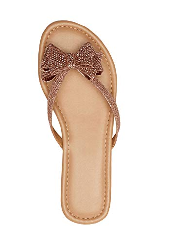 Ruanyu Womens Bow Tie Flip-Flops Thong Beach Summer Glitter Flat Sandals Rose Gold