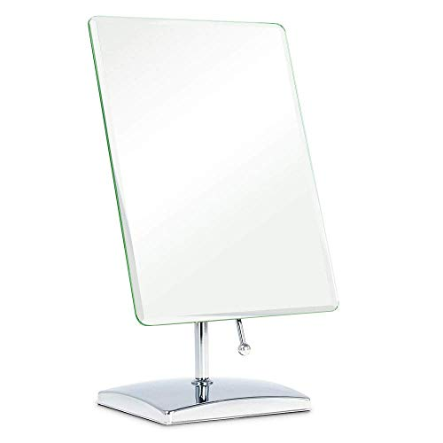 YN Square Foldable Single Mirror High Definition Mirror Real Desktop Makeup Mirror (Color : Silver)