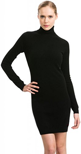 (Black Turtleneck Dress  100% Cashmere  by Citizen Cashmere, Black, Small)