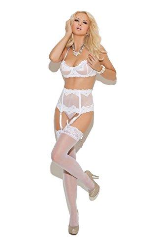 - Elegant Moments Womens White Lace Bra, Garterbelt and Thong Set (36)