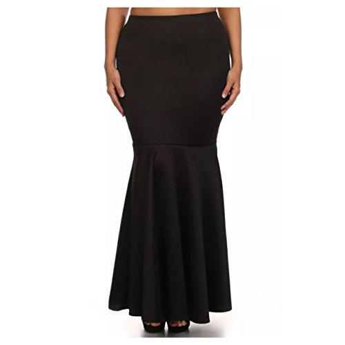 Plus Skirt Mermaid Maxi High Waist Solid Women Black Red Burgundy (1X, Black)