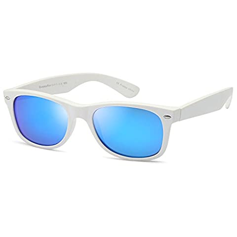GAMMA RAY UV400 52mm Adult Classic Style Sunglasses – Mirror Blue Lens on Matte White Frame (White Out Contact Lens)