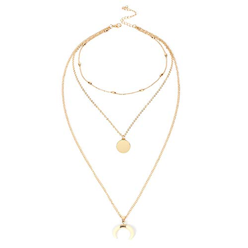 Aineecy Multi-Layer Horn Crescent Necklace Pendant Bohemian Round Sequins Disc Choker Long Clavicle Chain Necklace for Women Girls Fashion Jewelry(White)