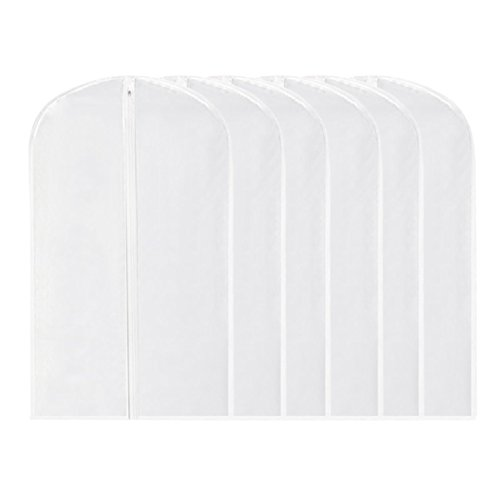 Walkec Pack of 6 PEVA Garment Bag, White Breathable Full Zipper Dust Cover for Clothes Storage Closet by Walkec