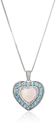Sterling Silver Simulated Opal, Blue Topaz, and Created White Sapphire Heart Pendant Necklace, 18
