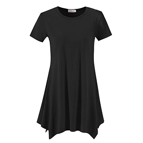 Topdress Women's Loose Fit Swing Shirt Casual Tunic Top for Leggings Black L ()