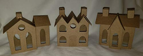 SET of 3 VILLAGE Putz Style Houses - Vintage Village/Vintage 3 Roofs/Vintage House with Flicker Light Hole]()