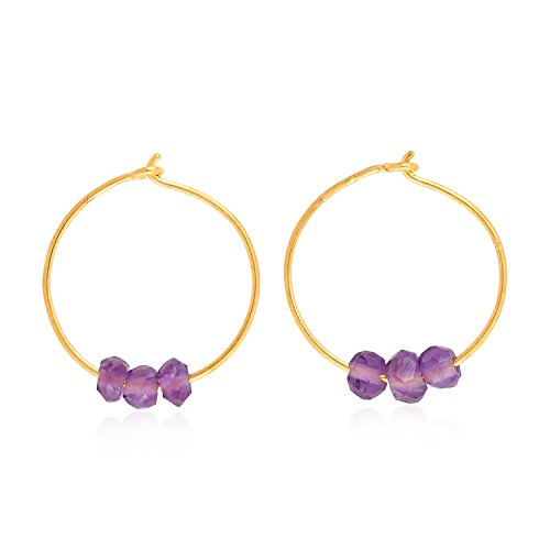 18K Yellow Gold Natural Amethyst Beads Tiny Huggie Hoop Earrings (12 mm (Amethyst Earring Beads)