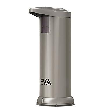 ***LIMITED OFFER!*** EVA Premium Automatic Touchless Soap Dispenser (Hand Sanitizer) for Bathroom & Kitchen Countertops. Fingerprint Resistant Brushed Stainless Steel [New Moisture Proof Base]