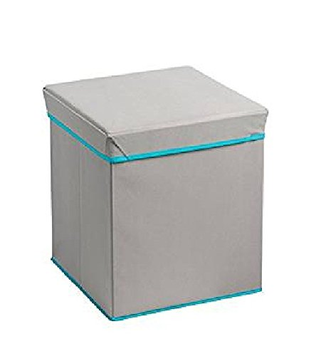 Bintopia Collapsible Ottoman Heather, Gray/Turquoise Trim