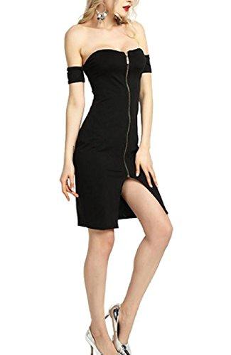 Coolred-femmes Découpées Dos Sexy Fendue Épaule Froide Robe Noire Zippée Midi