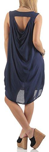 Unique Malito 1120 Maxi Base Verano Taille Femme Robe Fonc Oversize Bleu 8CTq8w