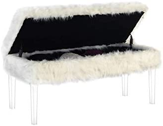 Ore international 20 In White Beverly Faux Fur Storage Bench W Acrylic Ghost Legs