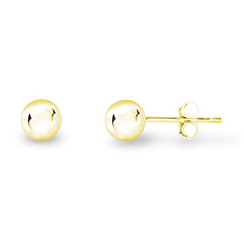 Yellow Gold Plated Sterling Silver Plain and Smooth Round Bead Ball-Shape Stud Earrings, 5mm (Beads Yellow Flowers Round)