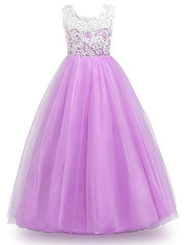 MOREMOO Big Girl Lace Pageant Gowns Bridesmaid Wedding Tulle Party Dress(Purple 6-7 Years)