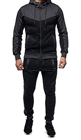 Mens 2 Pieces Full-Zip Fitted Exercise Tracksuit Casual Jogging Athletic Workout Sweat Set Dark Grey XS