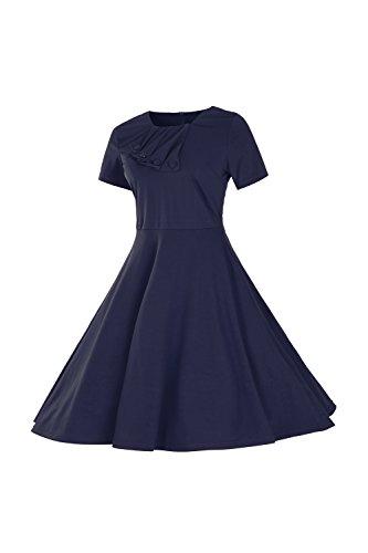 Babyonlinedress Vestido de estilo retro casual cuello cuadrado manga corta unicolor y trapecio Azul